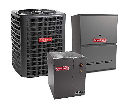 Goodman 3 Ton 16 SEER Air Conditioner GSXC160361, Coil CAPF3743C6, 100,000 BTU 80% AFUE Upflow Gas Furnace GMVC81005CN