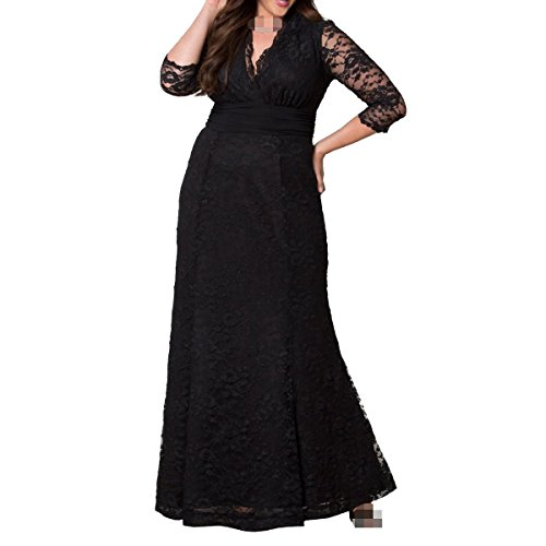 Alta Vestito Prom Pizzo V Vita Ragazza Matrimoni Black Compleanni Donne Banchetti Zip neck Nero 0gPwZwqcX