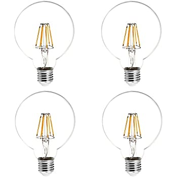 HERO-LED G30-DS-6W-WW27 Dimmable G30 E26/E27 6W Edison Style LED Vintage Antique Filament Bulb, 60W Equivalent, Warm White 2700K, 4-Pack