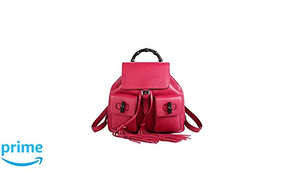 5c6703847 Amazon.com: Gucci Bamboo Dark Pink Leather Backpack for Women Handbag  370833: LUXURY FINDERS