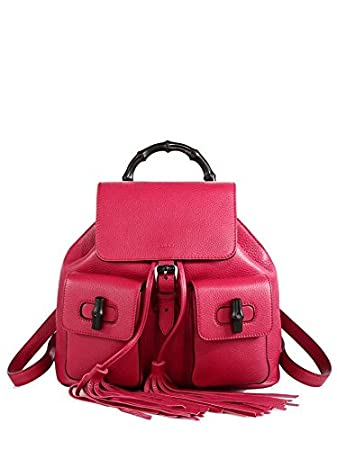 50a7483fb005c Amazon.com  Gucci Bamboo Dark Pink Leather Backpack for Women Handbag  370833  LUXURY FINDERS