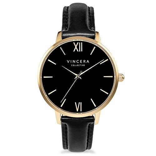 Italian Yellow Wrist Watch - Vincero Luxury Women's Eros Wrist Watch — Yellow Gold + Black dial with a Black Leather Watch Band — 38mm Analog Watch — Japanese Quartz Movement