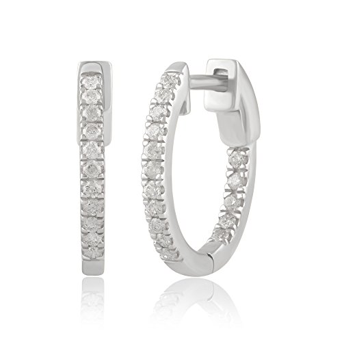 14K Gold Inside-Out Diamond Hoop Earring (1/4-2.00 Cttw, I-J Color, I2-I3 (Inside Out Diamond Earrings)