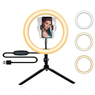 "YICOE Ring Light 10"" LED Ring Light with Tripod Stand & Phone Holder Dimmable Desktop Ring Lights 3 Colors 10 Brightness Remote Control for Phone Photography Makeup YouTube Video Live Streaming"