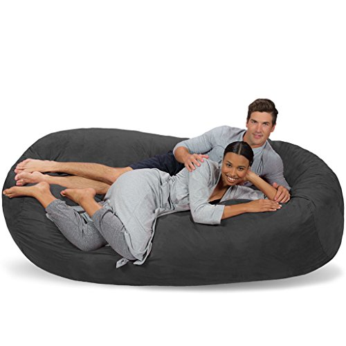 Micro Suede Bean Bag Lounger (Comfy Sacks 7.5 ft Lounger Memory Foam Bean Bag Chair, Charcoal Micro Suede)