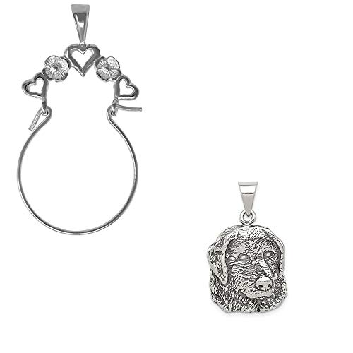 (Mireval Sterling Silver Antiqued Dog Charm on a Hearts Charm Holder)