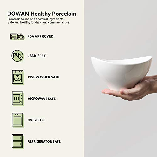 DOWAN 1.4-Quart Porcelain Serving Bowl Set, Party Snack or Salad Bowls, Set of 2, White by DOWAN (Image #5)