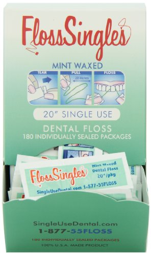 (Floss Singles Dispenser Box, Light Green, Mint, 180 Count)