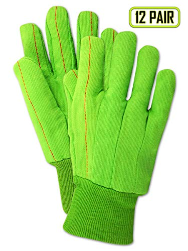 Magid Safety MultiMaster 796JKW Glove | 18 oz.100% Cotton Double-Palm Canvas Glove - Knit Wrist Cuff, XL, Bright Green (12 Pairs) ()