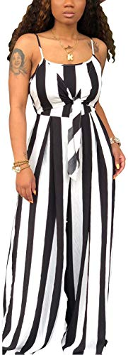 (Women's Sexy Spaghetti Strap Summer Jumpsuit Casual Sleeveless Striped Wide Leg Loose Long Palazzo Pants Rompers Comfy Backless Hollow Out Stretchable Outfits Bow-Knot)