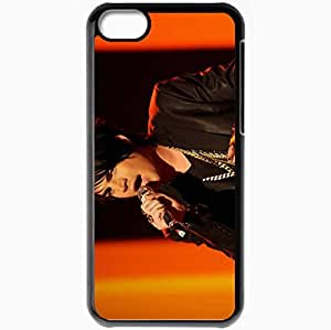 Personalized iPhone 5C Cell phone Case/Cover Skin Adam Lambert Rocker Microphone Scene Sing Black