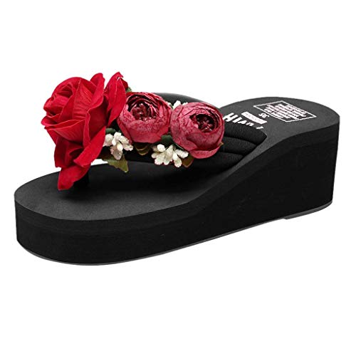 Todaies Women Girls Sandals,Hand-Made Floral Wedges Flip Flops Slippers Beach Shoes (36, Black)