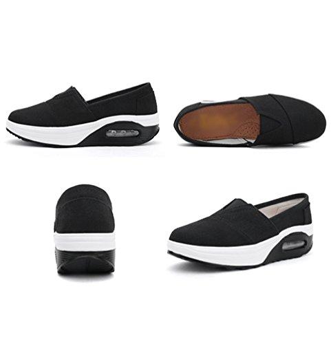 Casual De Mujer Wedge Plataforma Cómodos Sneaker Zapatos Negro Color Mocasines Sólido Linnuo Cuña Running Zapatillas Deporte 8vawAdaq