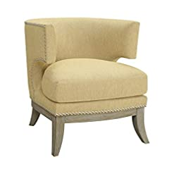 Farmhouse Accent Chairs Coaster Home Furnishings Accent Chair with Barrel Back Yellow and Weathered Grey farmhouse accent chairs