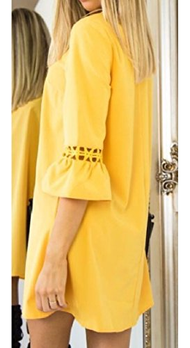 Bell A Women's Sleeve Tunic Solid Dress Yellow Lace Shift Line Stitching Jaycargogo 17IYnSx7