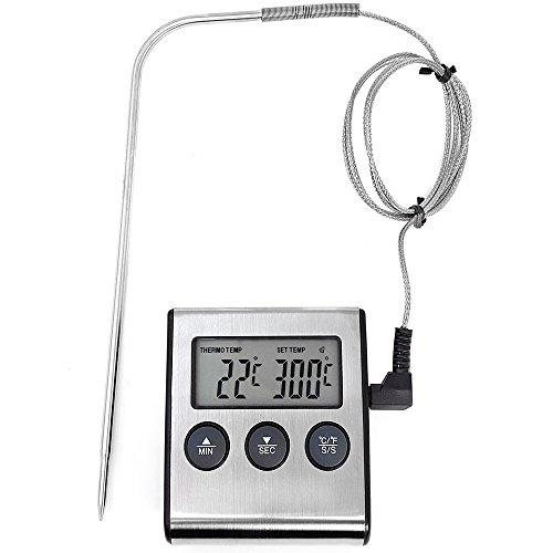 COM-FOUR® Termómetro de tostado digital hasta 250 ° C, con cable y sonda metálica, alarma después del tiempo o a la temperatura deseada, ...