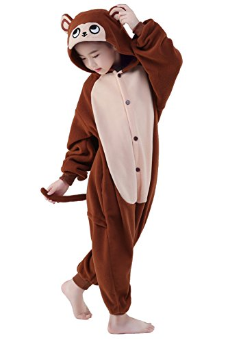 Make Costume Monkey Tail (Olasante Unisex Child Kid Brown Monkey Cosplay Costume Pajamas Masquerade Costume Jumpsuit)