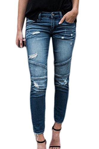 Suvotimo Les Femmes Les Jeans Skinny Jeans Dchirs  La Cheville tirement Blue