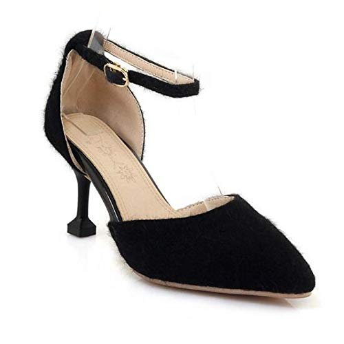 ZHZNVX Zapatos de Mujer Suede Spring Comfort Heels Stiletto Heel Black/Beige / Yellow Black