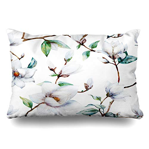 - DIYCow Throw Pillows Covers Trend Watercolor Pattern Magnolia Flowers Art White Flower Nature New Cushion Case Pillowcase Home Sofa Couch King Size 20 x 36 Inches Pillowslips