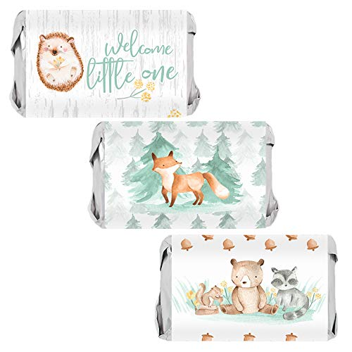 Woodland Baby Shower Mini Candy Bar Wrappers, Watercolor Creatures - 45 Stickers