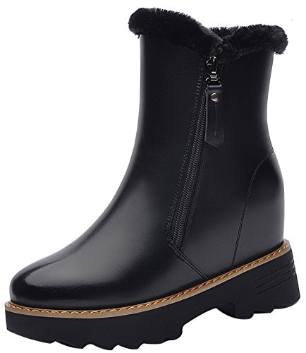 Women's Round Toe Flat Brogue Martin Boots London Ankle Boots Black - 9