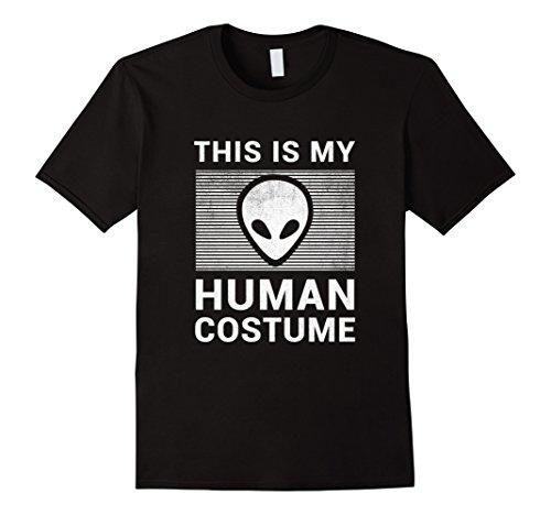 Mens Alien Halloween Shirt Easy Costume for Men Women Kids 2XL Black