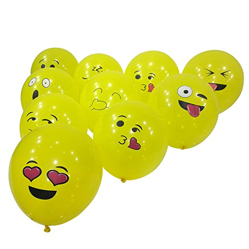 Emoji Balloons 100pcs Premium Party Supplies & Decorations by Aquatix Pro, Durable Reusable Latex Material, Variety of Smile Faces Included, Ideal for Birthdays, Parties, Weddings, Functions and More!