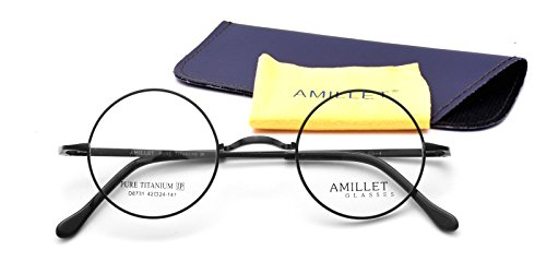 Amillet 42mm Retro Round Titanium Prescription Eyeglass Frames,for Men and Women,Rx-able,0.4 oz - Frame Eyeglasses Parts