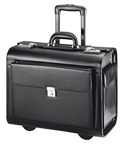 D & N Leder Pilotenkoffer Aktenkoffer Laptop Business Trolley Koffer Bag 45x36x24cm Schwarz 2870 Bowatex