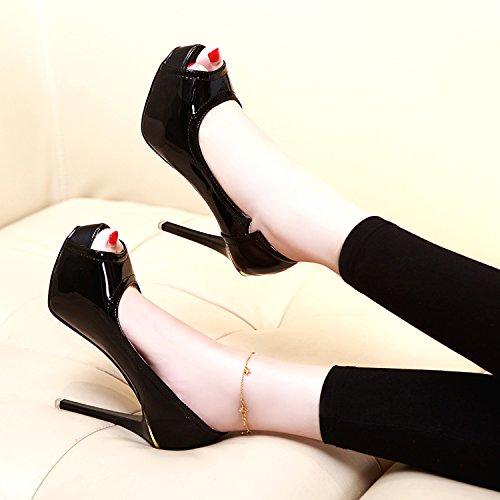 Cm Sexy Imperméables Nouvelles 12 Petite De Cuir Avec Chaussures black Une Bouche De En KHSKX De Talons Hauts Du Printemps Poisson La Belle Chaussures Bouche Super O5ACwx