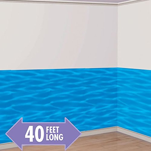 (Amscan Sun-Sational Summer Luau Scene Setter Room Roll Wall Decoration Party Supplies (4), Ocean Blue, 4 Pieces)