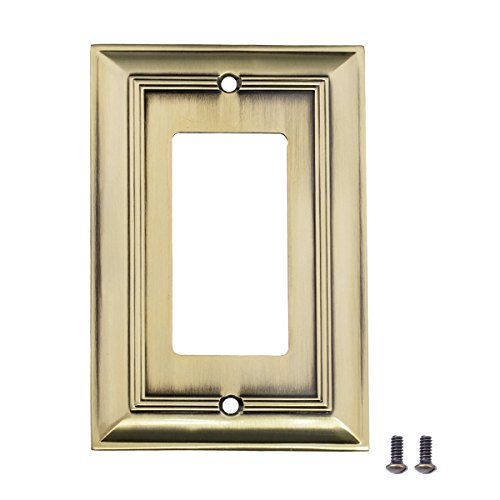 AmazonBasics Single Gang Wall Plate, Antique Brass, 3-Pack