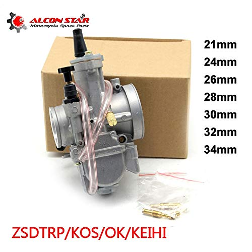 (| Carburetor | 21 24 26 28 30 32 34mm Keihin PWK KOSO OKO Motorcycle Carburetor with Power Jet 2T/4T Off Road Cafe Racer 75CC|250CC | by HUDITOOLS | 1 PCs)