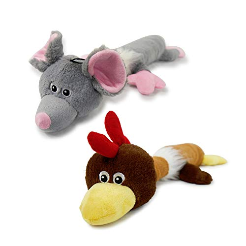 Pet Craft Supply Jumbo Super Squeaker Ultra Plush Toys 2 Pack Bundle - Mouse & Chicken Characters (Character Bundle)