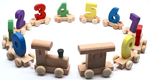 Smart Baby Wooden Train Set Classic Wooden Toddler Toy (Train with Numbers) ()