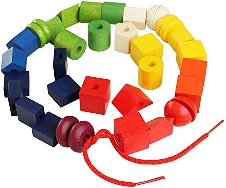 知育おもちゃ ビーズストリンギング幼児のための教育弦の張り玩具、大きな木製カラフルなビーズのブロック36個子供のための大規模なレーシングビーズセット 幼児教育の知的おもちゃ (色 : マルチカラー, サイズ : 19x14.5x.95cm)