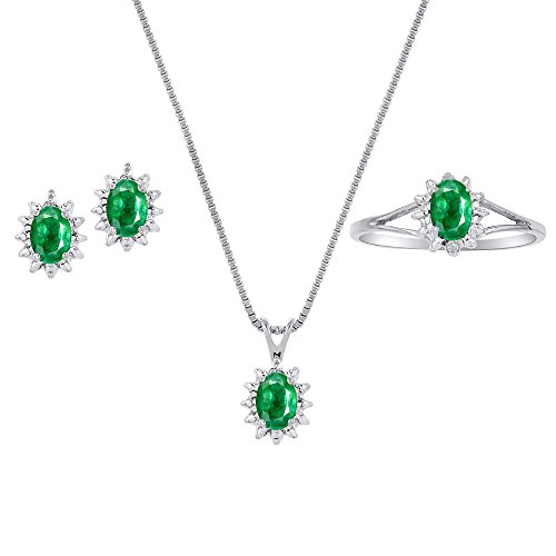 - Genuine Natural Emerald & Diamond Pendant, Earrings & Ring Set in Sterling Silver .925 with Chain and Gift Box