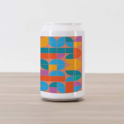 Lunarable Geometric Cola Can Shape Piggy Bank, Retro Style Mosaic Geometric Shapes of Quadrants and Squares in, Ceramic Cola Shaped Coin Box Money Bank for Cash Saving, Multicolor