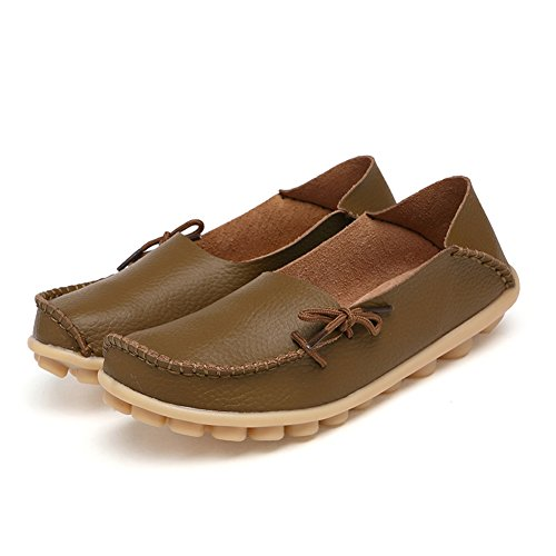 Shoes Khaki Casual Blivener Womens slip Loafers Lace Cowhide Up Flat Slippers Anti t1PBqPw