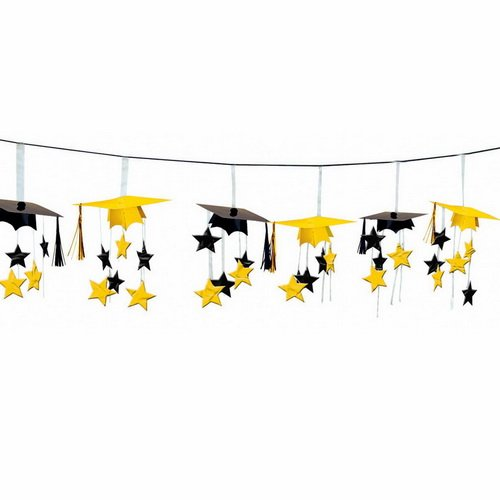 Yellow/Black Graduation Caps 3D Garland (Black And Yellow Graduation Decorations)