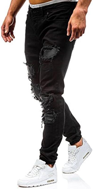 AOWOFS dżinsy męskie dżinsy Destroyed spodnie dżinsowe Regular Fit Denim Strech dżinsy niebieskie/czarne: Odzież