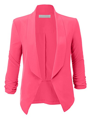 RubyK Womens Lightweight Ruched 3/4 Sleeve Open Front Blazer Jacket by RubyK