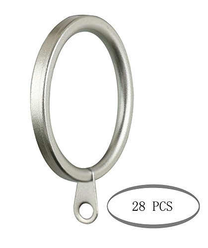 Meriville 28 pcs 1.5-Inch Inner Diameter Metal Flat Curtain Rings with Eyelets, Fits Up to 1 1/4-Inch Rod (Set of 28, - 2 Inch Finial 1/2