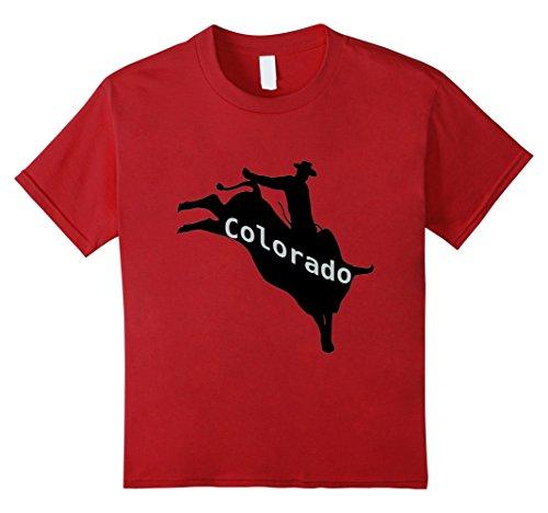 unisex-child Colorado Bull Rider Rodeo Tee Shirt 4 Cranberry