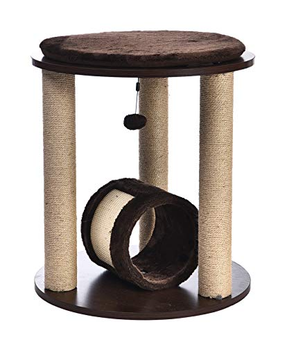 AmazonBasics Triple Tower Wooden Cat Cando Furniture With Scratching Post And Tunnel - 20 x 20 x 22 Inches