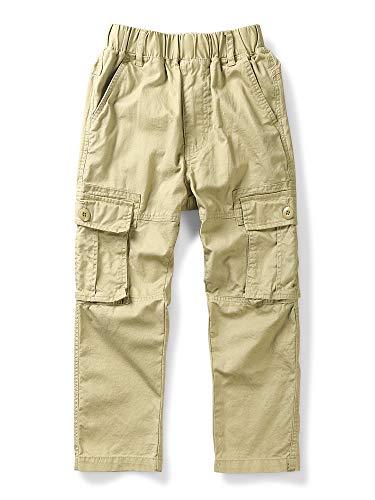 Boy's Lightweight Pull on Cargo Pants, Cotton Casual Slacks Khaki Tag 150-10-11 Years