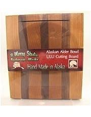 Alaska Ulu Alder Walnut Stripe Wood Chopping Bowl board Top Slot