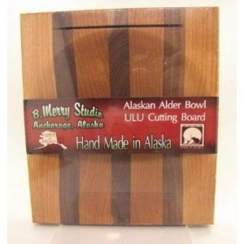 B merry Studios Alaska Ulu Alder Walnut Stripe Wood Chopping Bowl board Top Slot