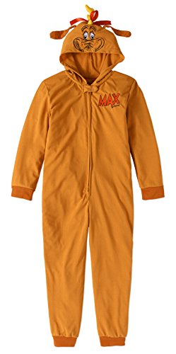 MJC Inc. Child Girls Boys Dr. Seuss The Grinch Stole Christmas One Piece Hooded Pajamas (Max The Dog -Brown, X-Small 4/5)